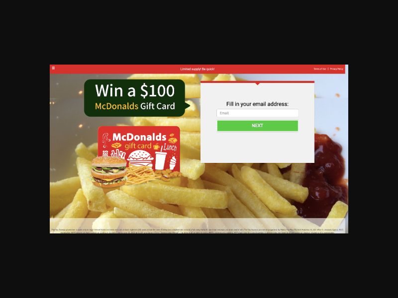 SweepCentral McDonalds $1000 GiftCard (US) SOI
