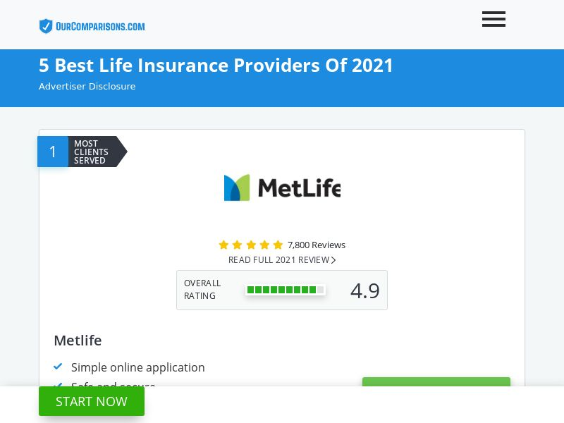 OurComparisons.com - 5 Best Life Insurance Providers 2021
