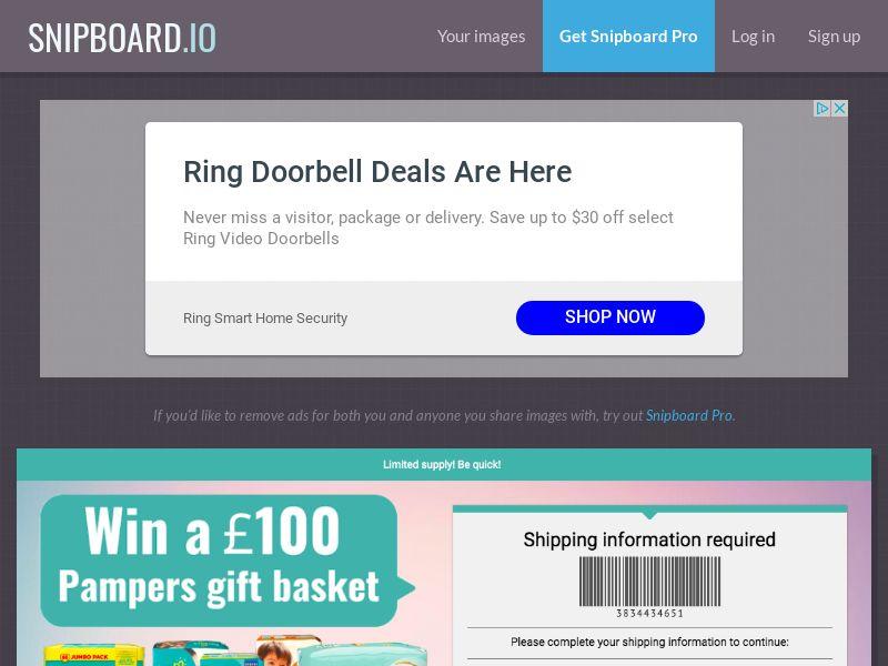 YouSweeps - Pampers Gift basket UK - SOI