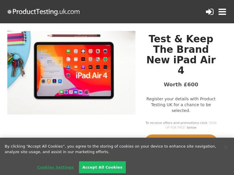 Product Testing - Test & Keep the New Apple iPad Air 4 [UK]