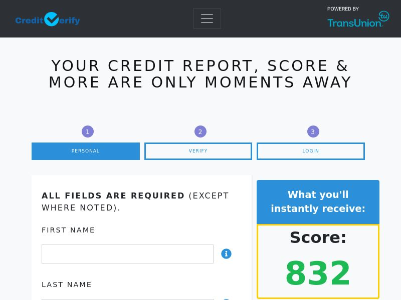 Credit Verify Score - $1 Trial - CA