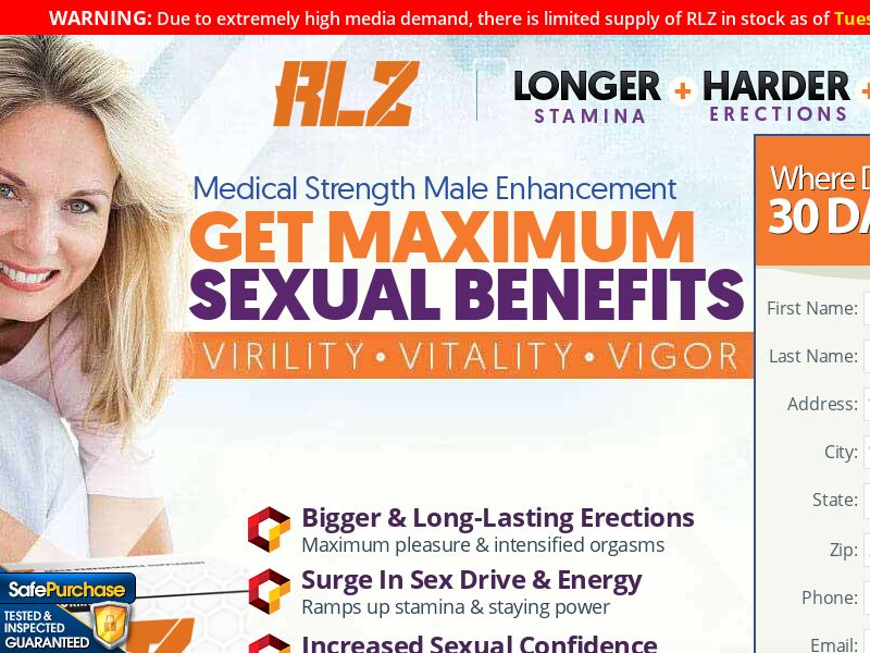 RLZ Male Enhancement Trial w/ Upsell - US (No PPC)