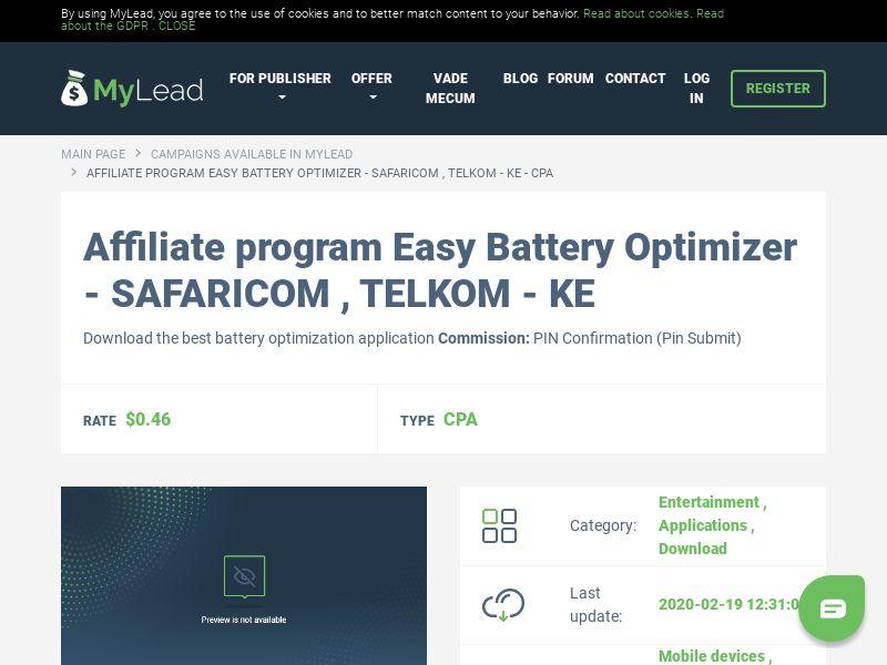 Easy Battery Optimizer - SAFARICOM , TELKOM - KE (KE), [CPA], Entertainment, Applications, Download, Confirm PIN, app, mobile, file, files, cpi
