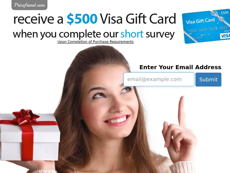 $500 Visa Gift Card - Email Submit - Incent