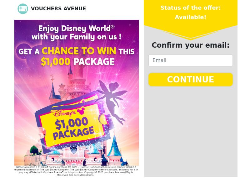 Disney World Trip - US - Non-Incent (CPL) (Personal Approval)