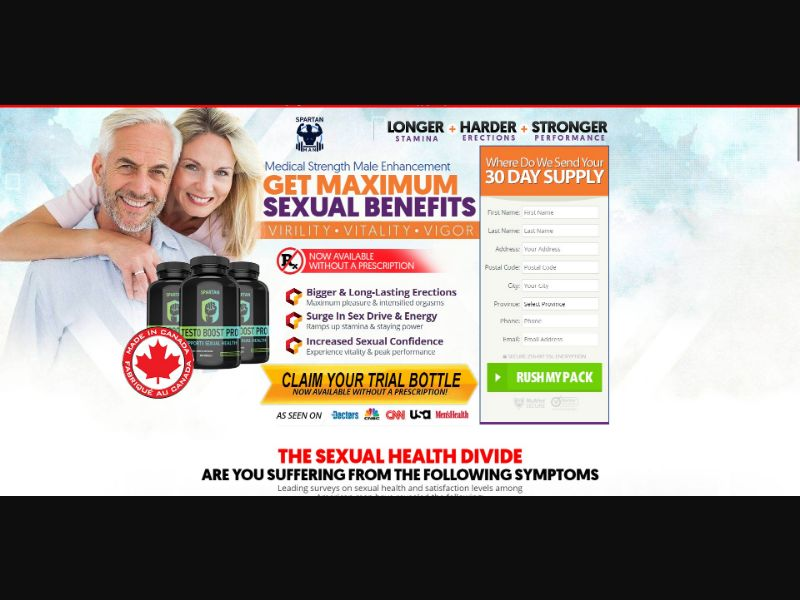 Spartan Testo Boost Pro - Male Enhancement - Trial - NO SEO - [CA] - with 1-Click Upsell [Step1 $21.45 / Upsell $21.45]