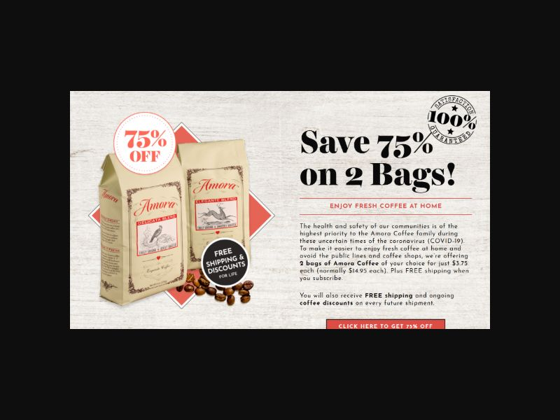 Amora Coffee - 75% Off 2 Bags + Free Shipping (US)