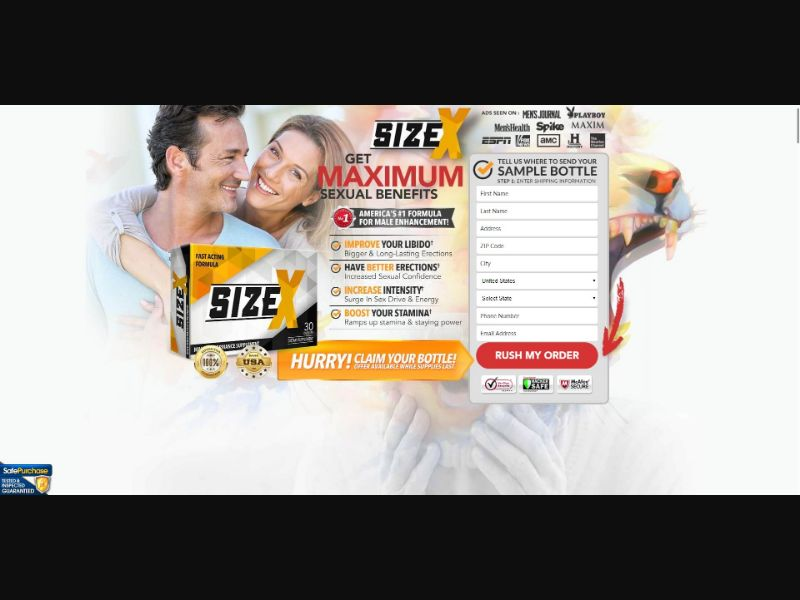 Size X - Male Enhancement - Trial - [US, No California] - with 1-Click Upsell [Step1 $28.90 / Upsell $27.20]