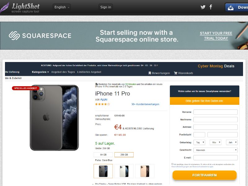 trophaeenjaege iPhone 11 Pro (Amazon) (Sweepstake) (CC Trial) - Germany