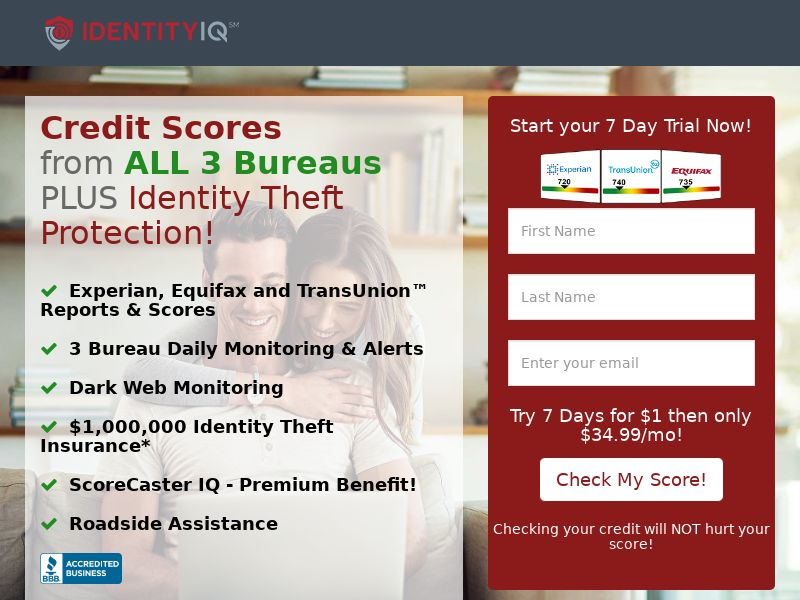 ! HOT OFFER - Trial - Identity IQ Plus Identity Theft Protection [US] (Native,Social,PPC,Push,SMS,Search,Email) - CPA