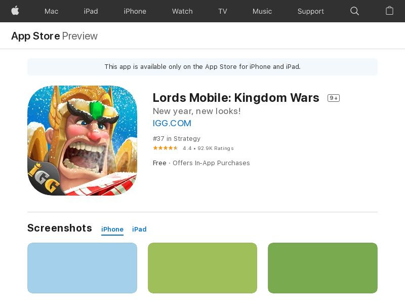 Lords Mobile - TW - iOS (hard kpi) new Device <30%