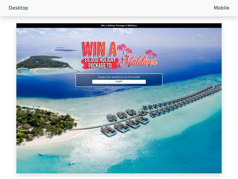Sweepstake Trip to Maldives CPL/SOI [AU]