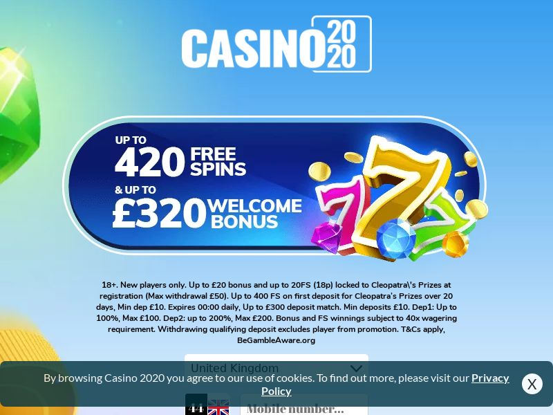 Casino2020 - Free Spins & Welcome Bonus - Deposit CPA | UK