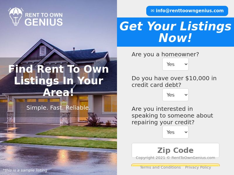 Rent To Own Genius - Email