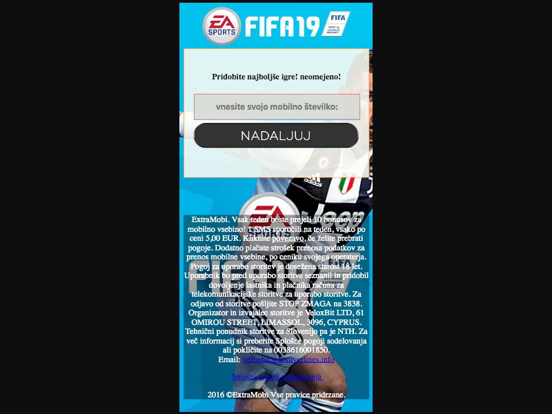 Fifa 19 - SMS flow - SI - Online Games - Mobile