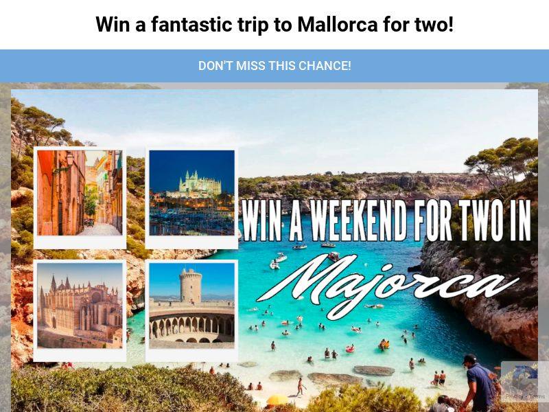 Majorca Trip - UK (GB), [CPL], Lotteries and Contests, paypal, survey, gift, gift card, free, amazon