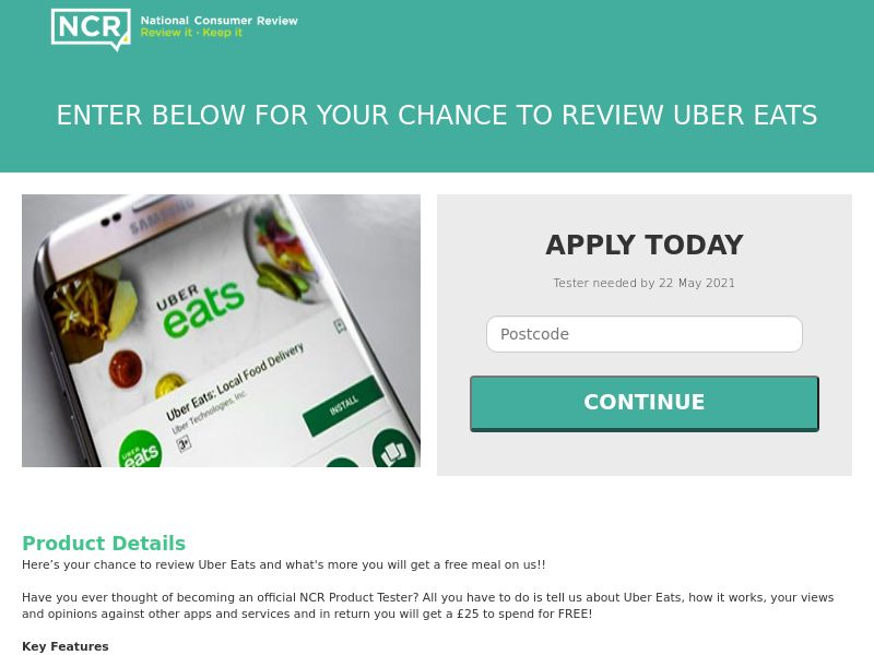 NCR - Free Meal With Uber Eats [UK]