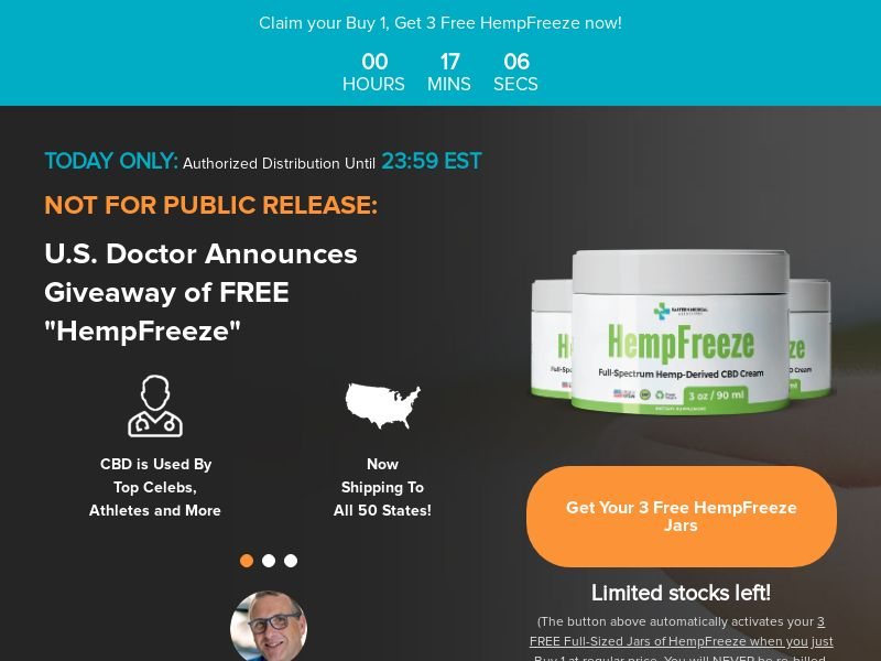HempFreeze Free+Shipping CBD Cream (Global)