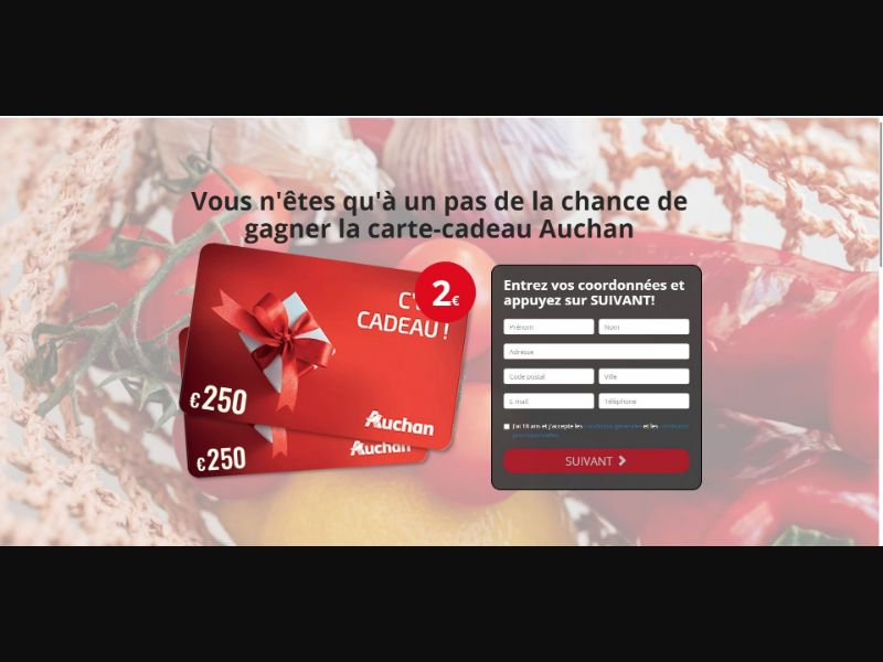 Auchan €250 Giftcard - Sweepstakes & Surveys - Trial - [FR]