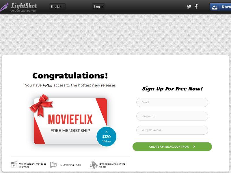 Sugar Beats Flix Direct to signup MovieFlix Free Membership (Entertainment) (CC Trial) - Canada