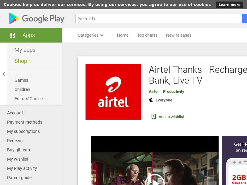 Airtel Thanks - Recharge, Bill Pay, Bank, Live TV AND IN