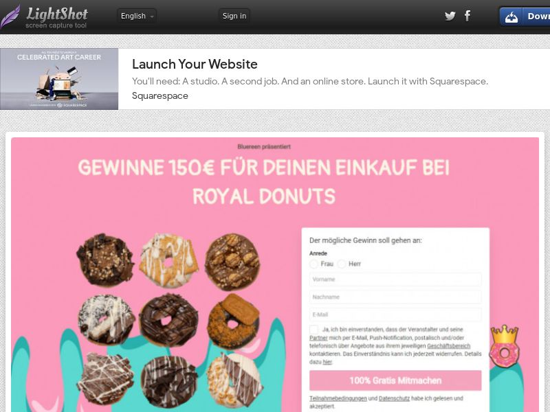 Win Royal Donut Giftcard (DE) (CPL) (Personal Approval)