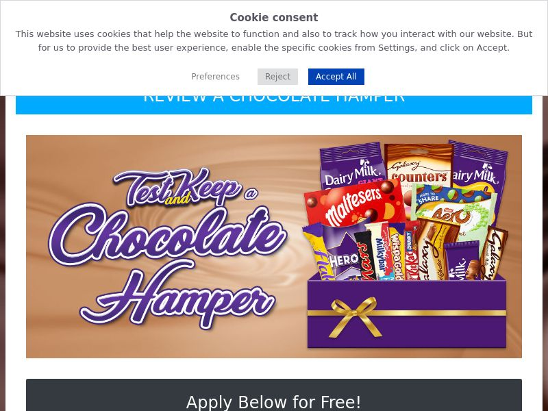 OfferX - Test And Keep Chocolate Hamper (Incent) [UK]