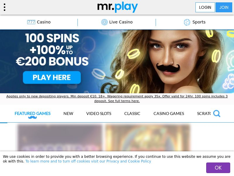 mr.play Casino offers you an 100% up to €200 + 100 Free Spins Welcome Bonus