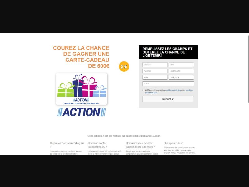 Action €500 GiftCard - Sweepstakes & Surveys - Trial - [FR]