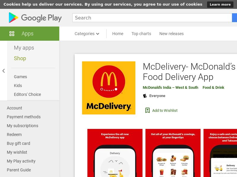 McDelivery- McDonalds India: Food Delivery App AND IN