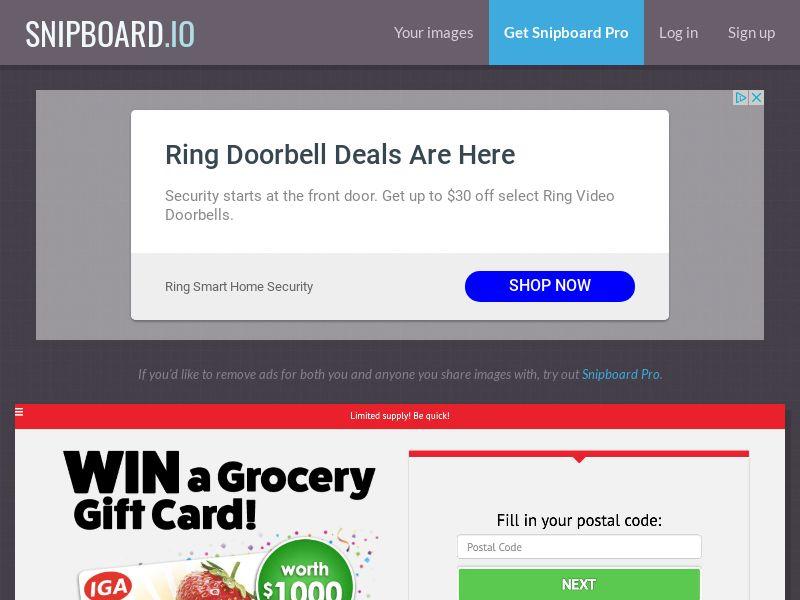 YouSweeps - $1000 IGA Supermarket Giftcard AU - SOI