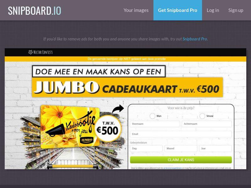 37789 - NL - NectarContests - Jumbo Giftcard $500 (No Prelander) - SOI