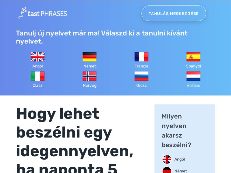 Fast Phrases - Learn New Languages (English, Spanish, French, etc.) - 100% White Hat - Hungary