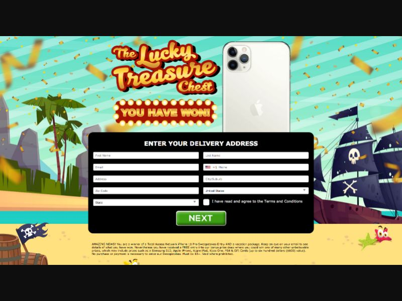 The Lucky Treasure LP2 - CC Submit - US - Sweepstakes - Responsive