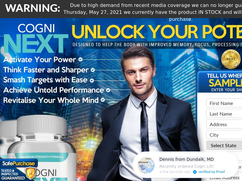 Cogni Brain Max (Trial W/1 Click Upsell) (US) (SMS Allowed) (Survey Allowed) (50% Rebill Required)