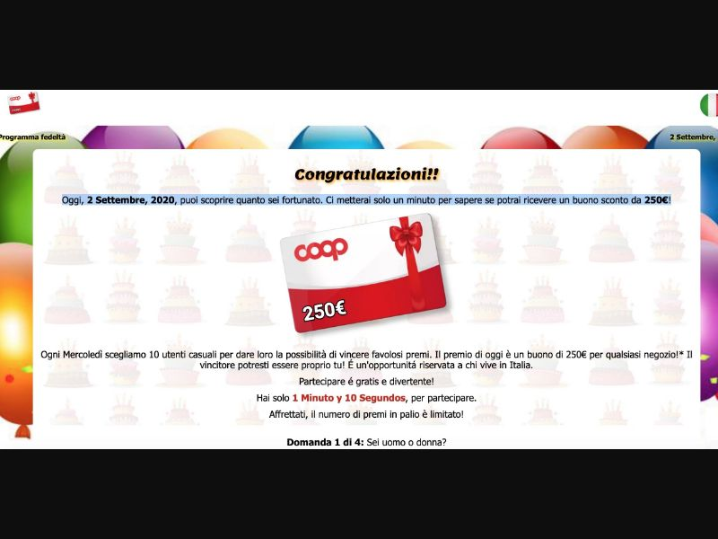 Sweepstakes Coop and Iphone IT Prelander [IT] - SOI registration