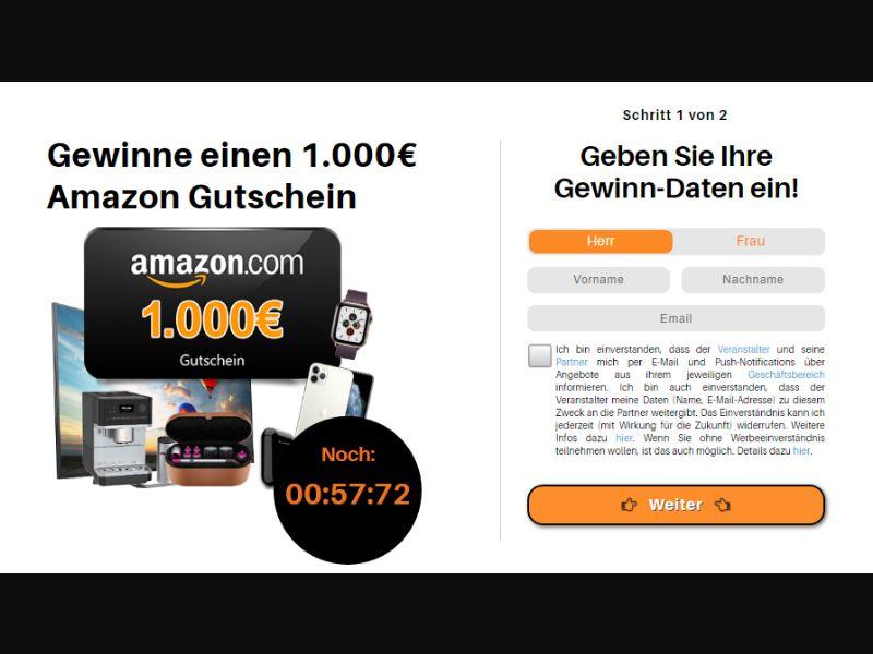 DE - Amazon €1000 Voucher [DE] - SOI registration