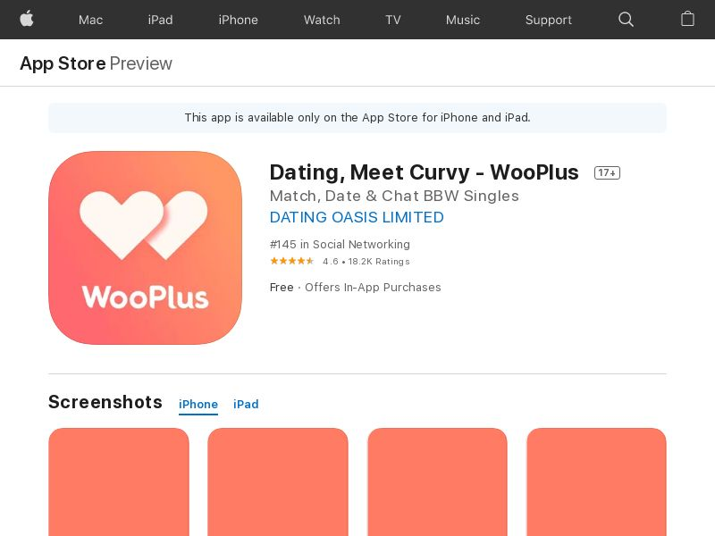 Curvy Singles Dating IOS US IDFA