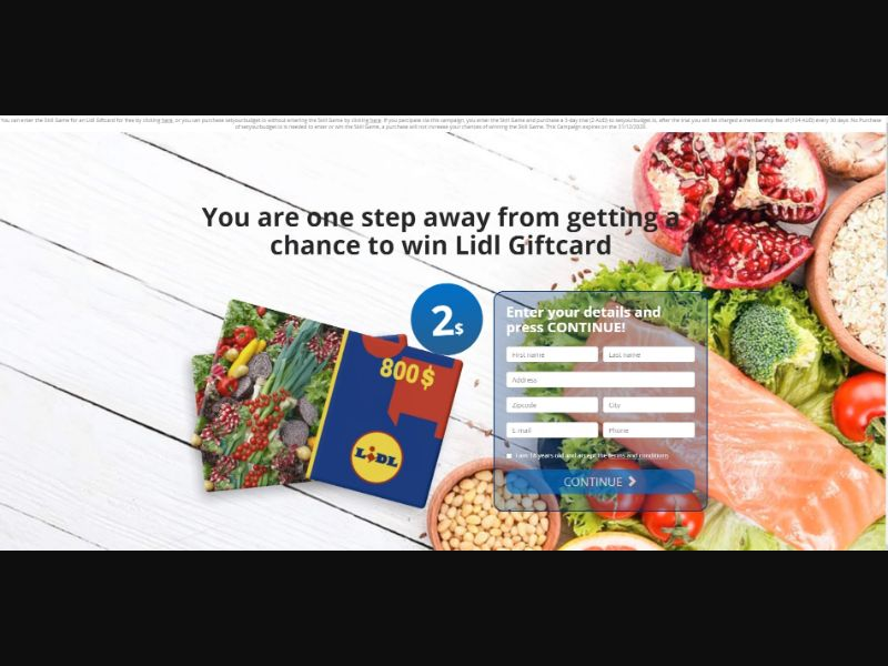 Win Lidl €500 Giftcard [SE,FR] - CC Submit