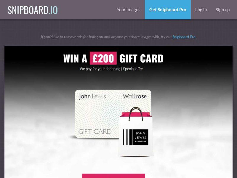 Leadswinner - Win a £200 John Lewis Gift Card [UK]