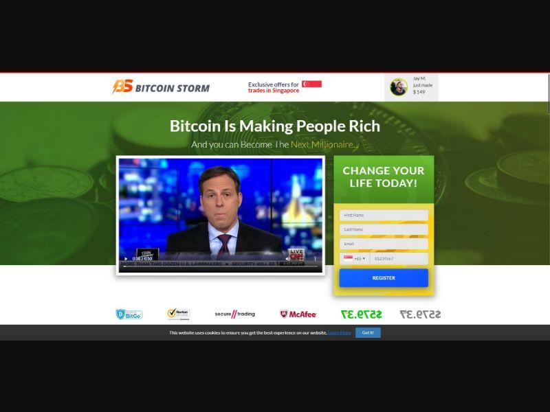 Bitcoin Storm - $250 min CTC - VSL - Crypto - SS - [60 GEOs]