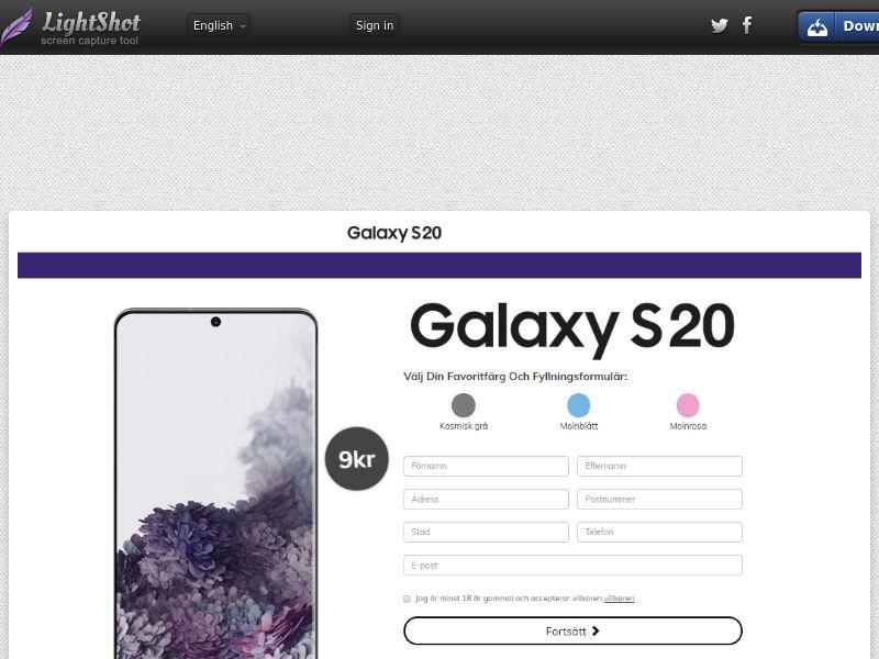 PremiumDeals Samsung Galaxy S20 v1 (Sweepstake) (CC Trial) - Sweden [SE]