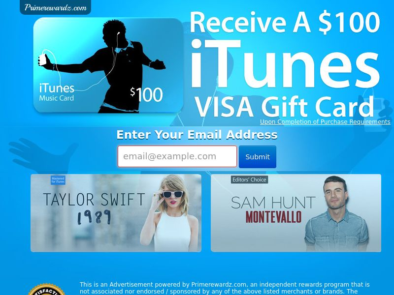 $100 iTunes GC - Email Submit - Incent
