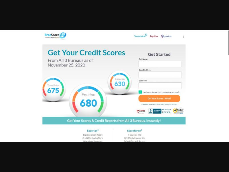 Free Score 360 - Credit Reports & Repair - Trial - NO SEO - [US]