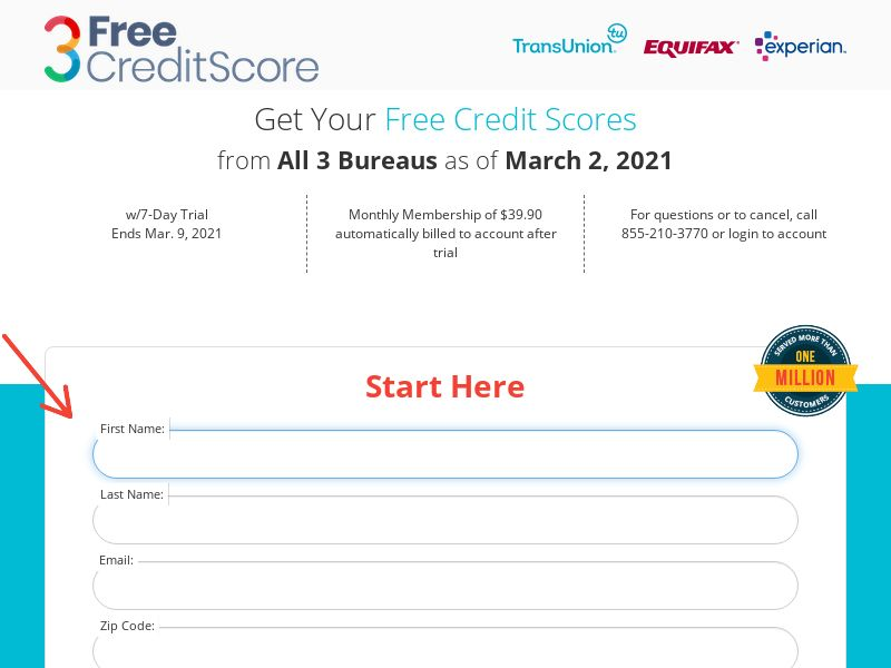 3FreeCreditScores.info - $1.00 Trial (*Private Offer*) - Finance/Credit Score - US <<*PENDING*PRIVATE OFFER*>>