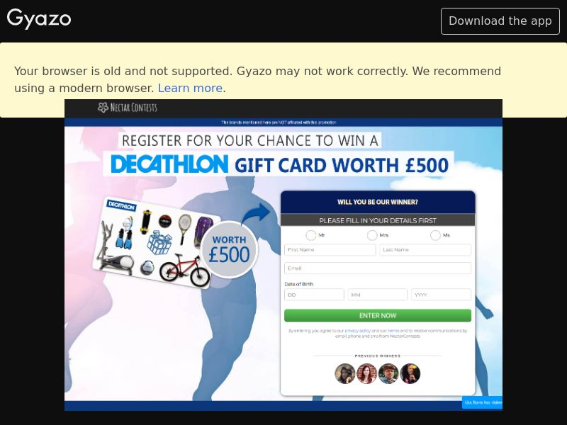 NectarContests - Win Decathlon Gift Card (UK) (CPL) (Desktop)