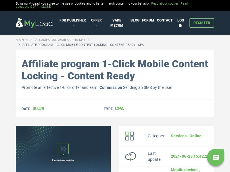 1-Click Mobile Content Locking - Content Ready (MultiGeo), [CPA]