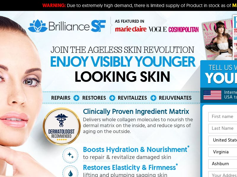 Brilliance SF - Skin Care [US,CA,IE] (Social,Banner,PPC,Native,Push,SEO,Search) - CPA {No Email-NoBB}