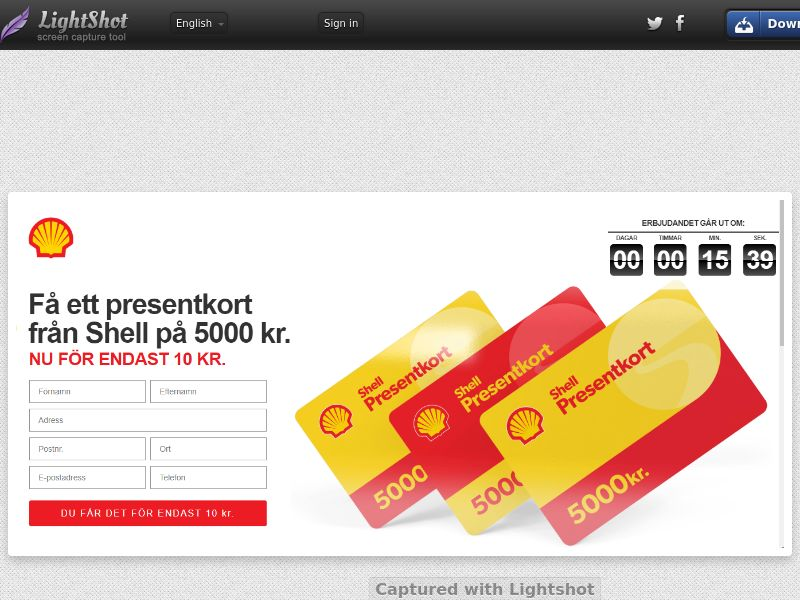 winlotsofthings 500€ SHELL Giftcard (Sweepstake) (CC Trial) - Sweden