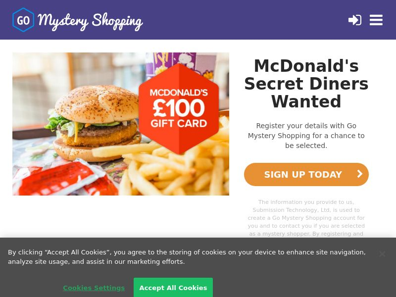 Go Mystery Shopping - Receive £100 to become a McDonalds Secret Diner CPL [UK]